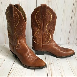 Justin Leather Cowboy Boots Size 7 1/2M